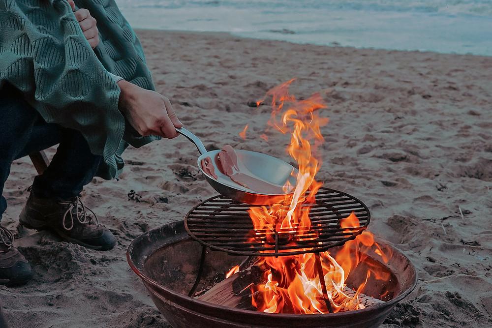 Grillning på stranden