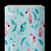 Perroquet rose fond bleu
