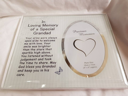 In loving memory special Grandad photo frame approx 25x21 cms
