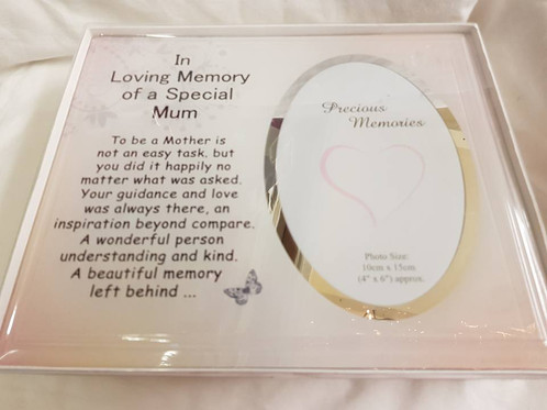 In loving memory special Mum photo frame approx 25x21 cms
