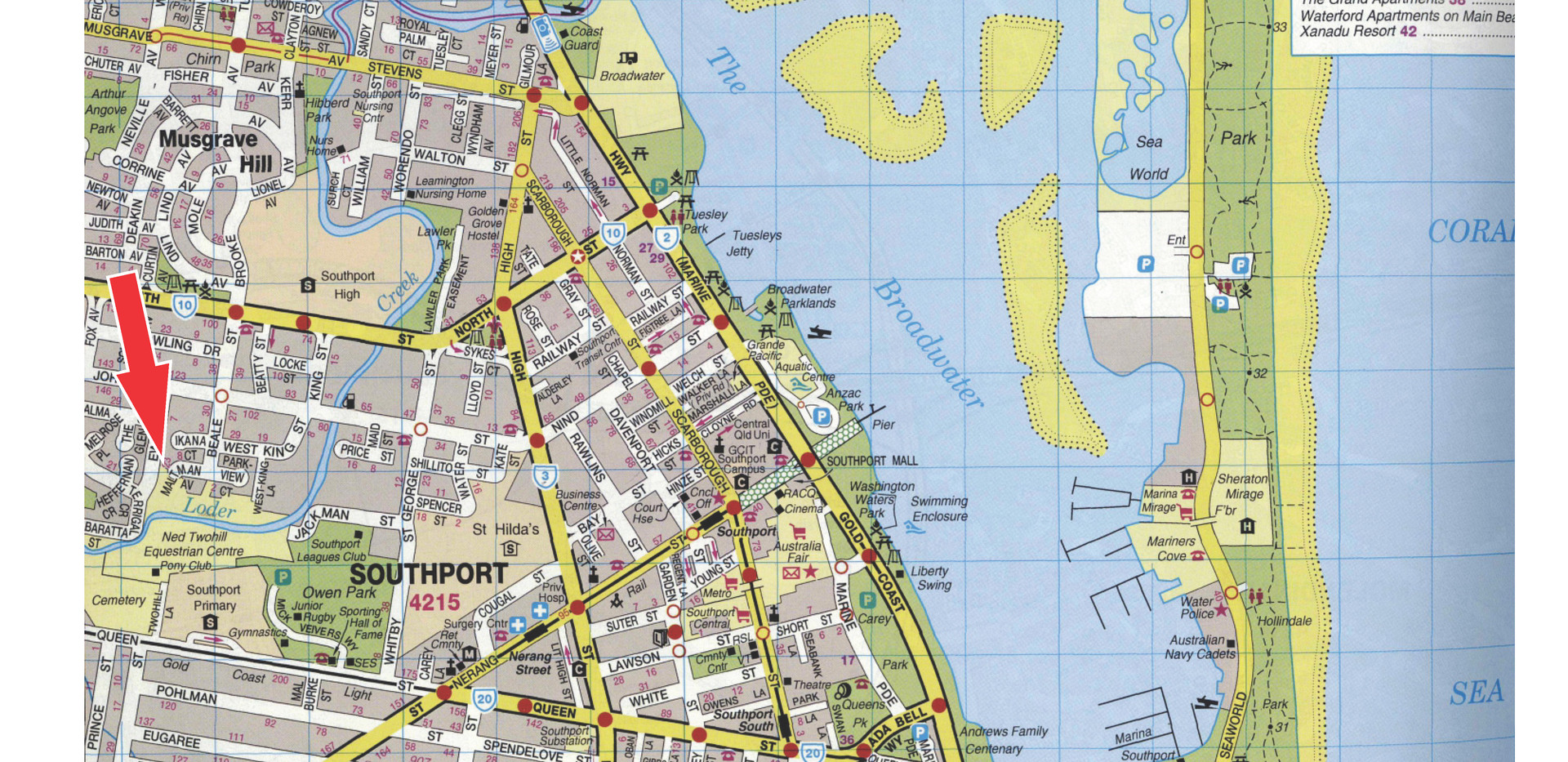Southport Map with location.jpg