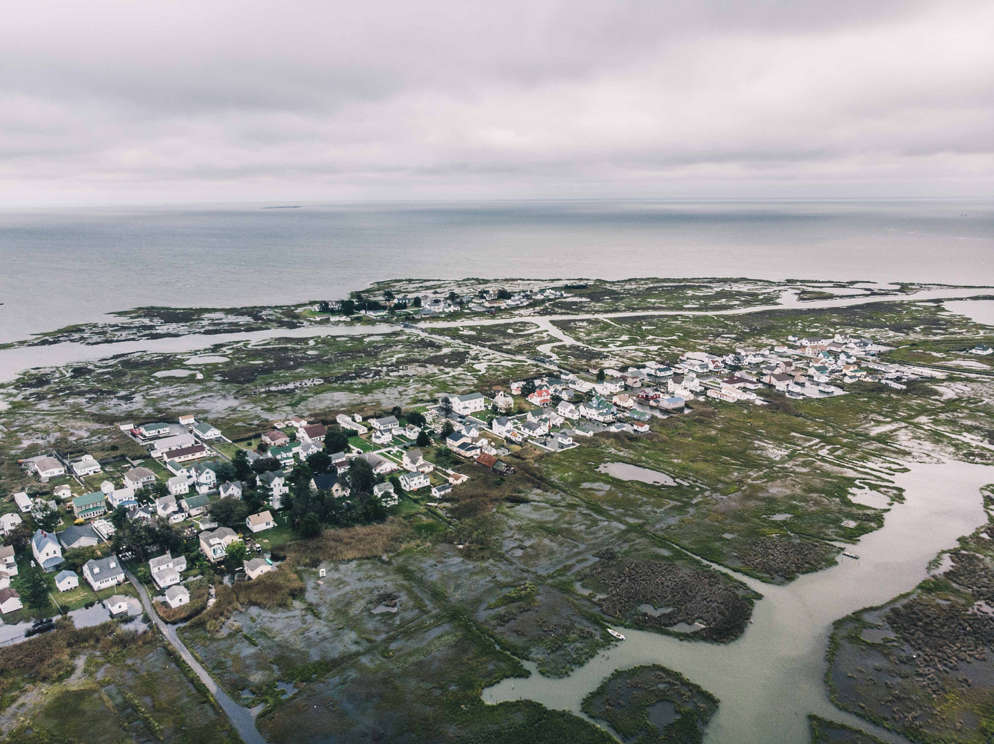 Aerial view of Tangier Island with a high tide