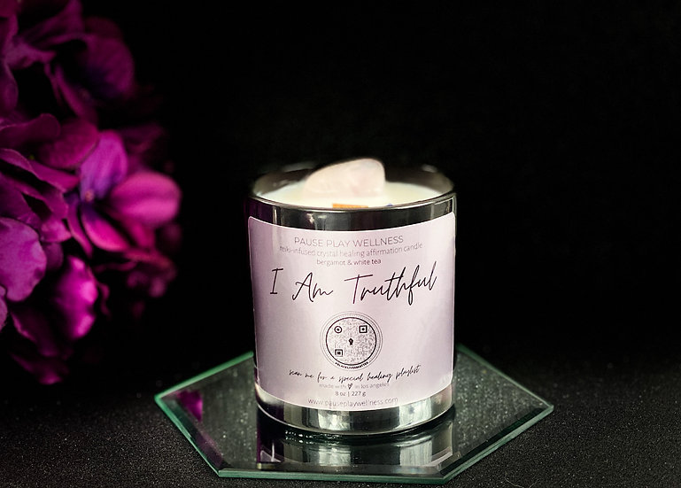 """I Am Truthful"" Crystal Healing Affirmation Candle"