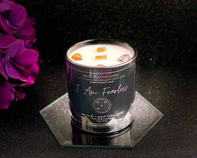 """""""I Am Fearless"""" Crystal Healing Affirmation Candle"""