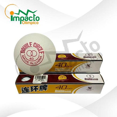 Pelota ping pong Doble Círculo Blancas 6 unidades