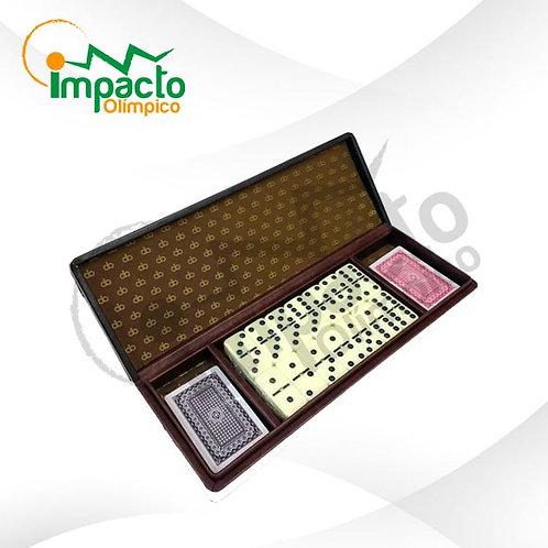 Set Domino y Naipes caja cuero