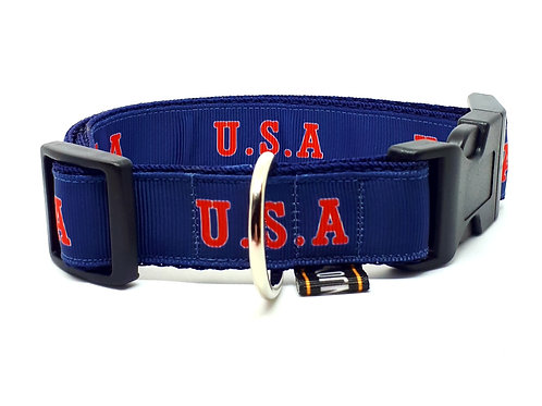 Hondenhalsband - USA 2 blauw