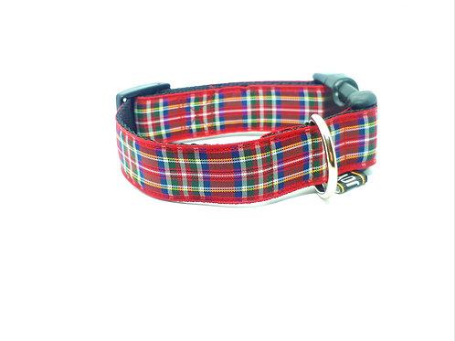 Hondenhalsband - Schotse ruit rood