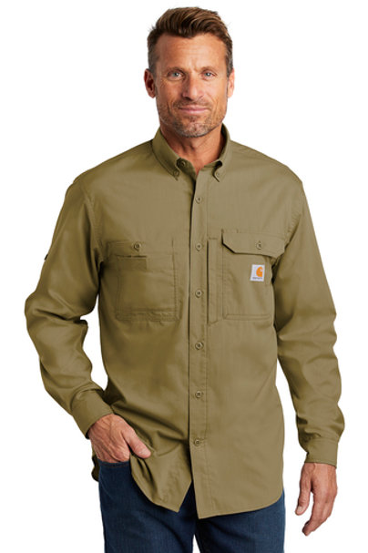 Carhartt Ridgefield Shirt Dark Khaki Long Sleeve L