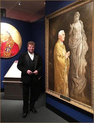 Portrait artist Igor Babailov with his Official Portrait of Pope Benedict XVI - Vatican Splendors - Reagan Library