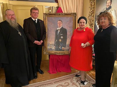 Official Portrait Unveiling - Her Imperial Highness Grand Duchess Maria Vladimirovna with the Portrait of H.I.H. Grand Duke Vladimir Kirillovich Romanov, by Igor Babailov. Collection: Imperial House of Romanov