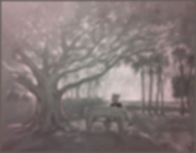 Mary in Naples, Florida. Drawing by Igor Babailov. Charcoal, white heightening on tonned paper.
