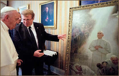 Pope Francis and Igor Babailov, official portrait unveiling and the symbolism, collection: Vatican