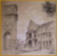 Colosseum, Rome (charcoal, w.Chalk), Plein Air drawing by Igor Babailov