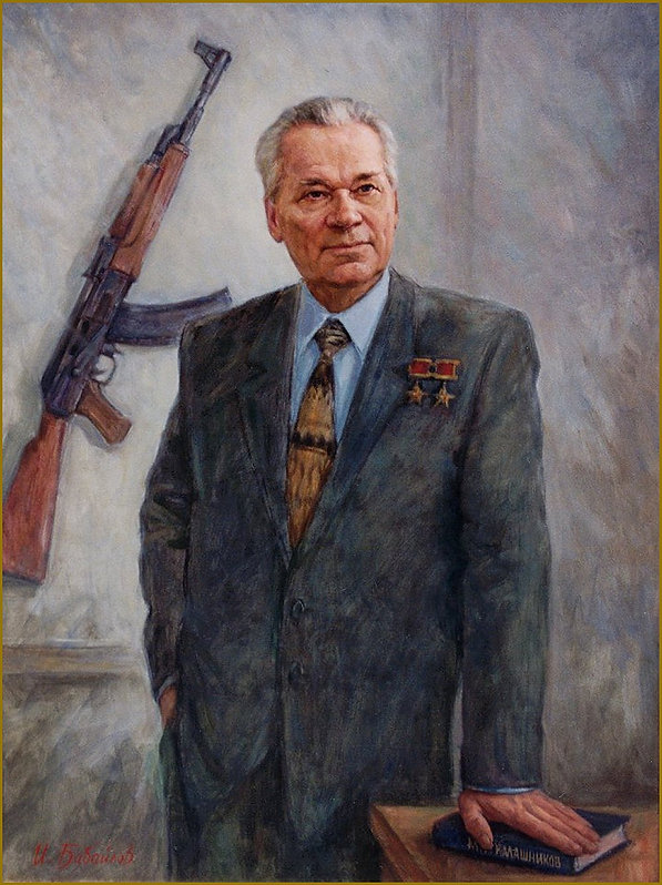 Official portrait of Mikhail Kalashnikov, inventor of AK-47, by portrait artist Igor Babailov