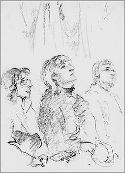 Portrait of Mary in the Sistine Chapel, sketch from life, by Igor Babailov, Vatican, Drawing by Igor Babailov