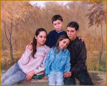 The DeFabo children, group family portrait painting by portrait artist Igor Babailov. Pittsburgh, PA