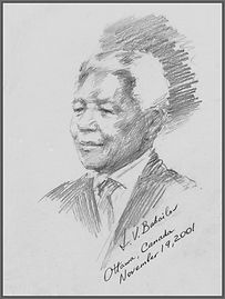 Official Portrait of Nelson Mandela, Official portrait drawing from life by Igor Babailov