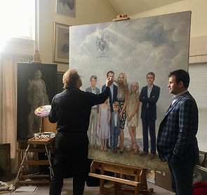 The BONE family portrait in oil, portrait of seven, by portrait artist Igor Babailov