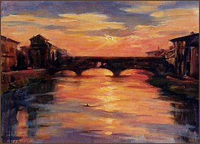 Ponte Vecchio - Sunset in Florence (oil on canvas), Plein Air painting from life by Igor Babailov