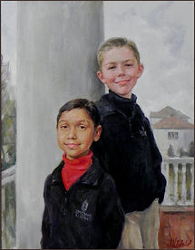 Portrait of two brothers, Joseph and Samuel, group family portrait by portra it artist Igor Babailov. Private collection: Nashvile, TN