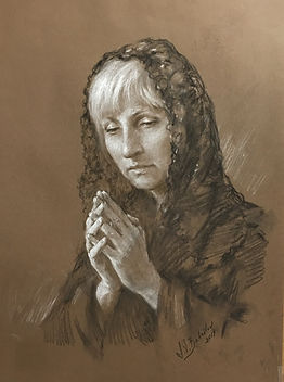 A Prayer. Portrait of Mary (drawing from life, black charcoal and heightening with white chalk), by Igor Babailov.