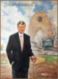 Official portrait of Tom Monaghan, Founder of Domino's Pizza, Owner of Detroit Tigers, Chancellor of Ave Maria University. Oil Portrait by portrait artist Igor Babailov.