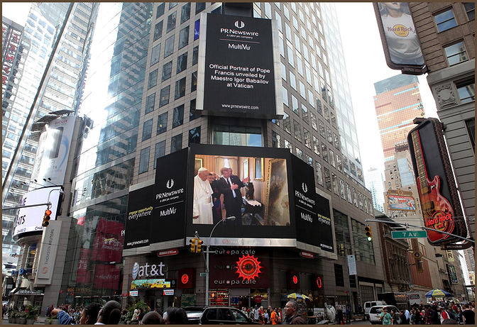 The Billboard at Times Square, Portrait of Pope Francis by Igor Babailov