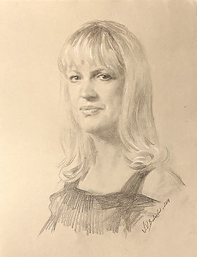 Portrait drawing of Sherrie Moore, graphite on paper, by portrait artist Igor Babailov, Portraits of women, drawing from life.