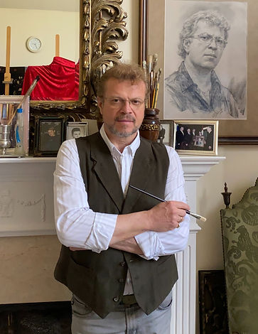 Igor Babailov, famous Portrait Artist, in his portrait studio in Nashville, Bio, about the artist, for media inquiries, Commissioned portraits in oil and other mediums.
