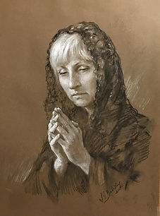 Portrait of Mary - a prayer. Drawing from life, black charcoal and heightening with white chalk. By Igor Babailov.