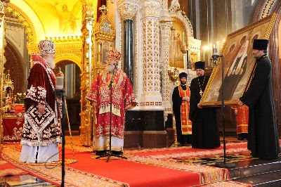 Portrait of Patriarch Kirill of Moscow and All Russia, by Igor Babailov. Official Portrait Unveiling at the Cathedral of Christ The Saviour. Collection: Moscow Patriarchia.