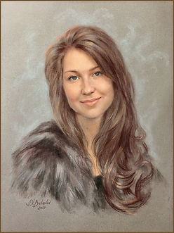 Portrait of Izzi Eberstadt. Pastel by portrait artist Igor Babaiov. Collection: Washington, DC