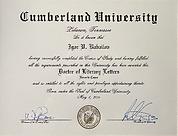 Hon. Doctorate, Cumberland University - Igor Babailov