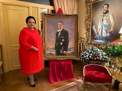Her Imperial Highness Grand Duchess Maria Vladimirovna with the Portrait of H.I.H. Grand Duke Vladimir Kirillovich Romanov, by Igor Babailov. Collection: Imperial House of Romanov