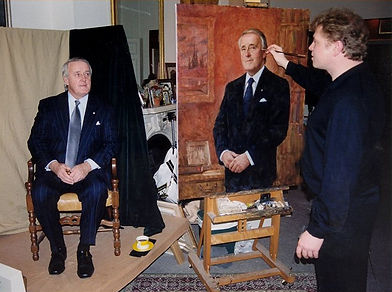 Igor Babailov - official portrait sitting with Prime Minister Brian Mulroney at the artist's studio.