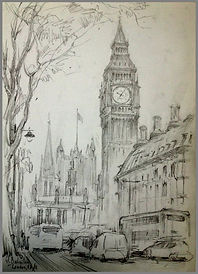 London. Drawing on location by Igor Babailov