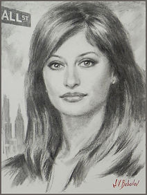 Portrait of Maria Bartiromo (charcoal on canvas), portrait by portrait artist Igor Babailov. Collection: The Bartiromo family, New York City