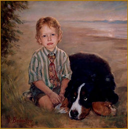 Sunset serenity. Portrait of Dilon DeLaurentis and his dog Cyrus. Romantic portraits by portrait artist Igor Babailov. Private collection, Toronto, Canada.