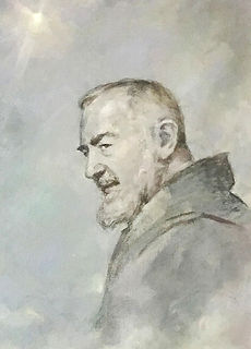 Portrait of Padre Pio in the official portrait of Col. Christoph Graf, Commander of the Pontifical Swiss Guard, Vatican. Portrait by Igor Babailov
