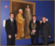 Portrait artist Igor Babailov with the Vatican Curator Monsignor Roberto Zagnoli and Mark Greenberg in the Vatican Splendors Exhibition