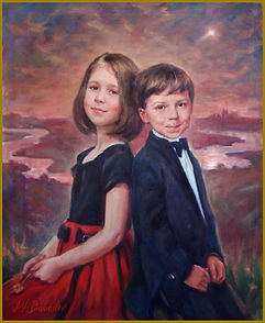 The Joyner Children - Portrait of Emily and Michael, oil on canvas painting, by portrait artist Igor Babailov.