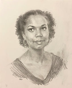 Portrait drawing of African-American 'Aspirnaut' student, drawing from life by Igor Babailov, Portrait of African-american woman, Vanderbilt University, Nashville