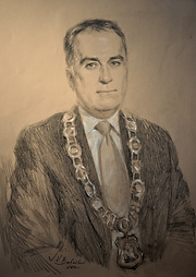 Portrait of Mayor Neil Ellis, City of Belleville, Ontario, Canada (graphite and white chalk), by portrait artist Igor Babailov.