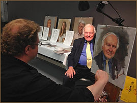 Ambassador Michael Novak portrait sitting, with portrait artist Igor Babailov