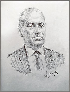 Life Portrait sketch of Col. Christoph Graf, Commander of the Pontifical Swiss Guard, by Igor Babailov