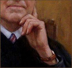 Paintings of hands in the portrait of Justice Joseph P. Sullivan, by portrait artist Igor Babailov.