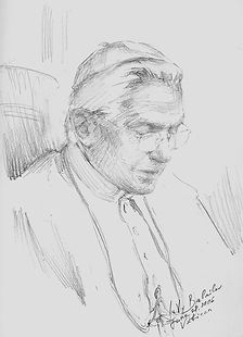 Pope Benedict XVI, Sketch from life in preparation for the official oil painting, by Igor Babailov.