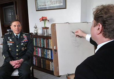 General David Petraeus portrait drawing studies from life, by Igor Babailov