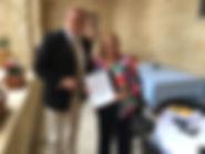 Художник Игорь Бабайлов с Президентом Мальты Мари-Луиз Колейро Прека. Президентский дворец, Мальта.